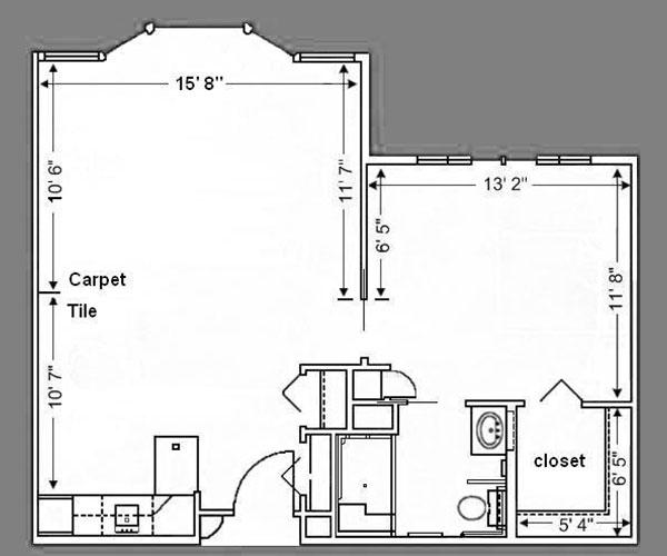 Floor Plan: 1 Bed Deluxe - 650 sq. ft.