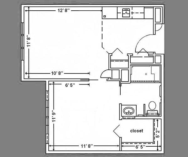 Floor Plan: 1 Bed Standard - 550 sq. ft.