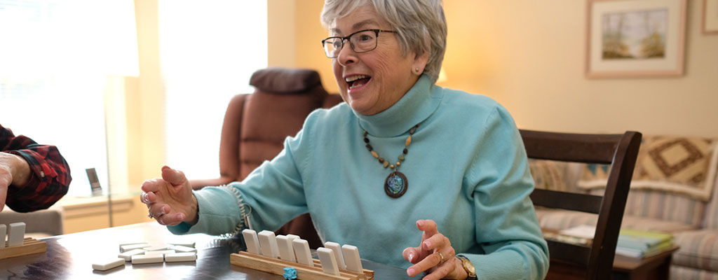 Woman playing Scrabble