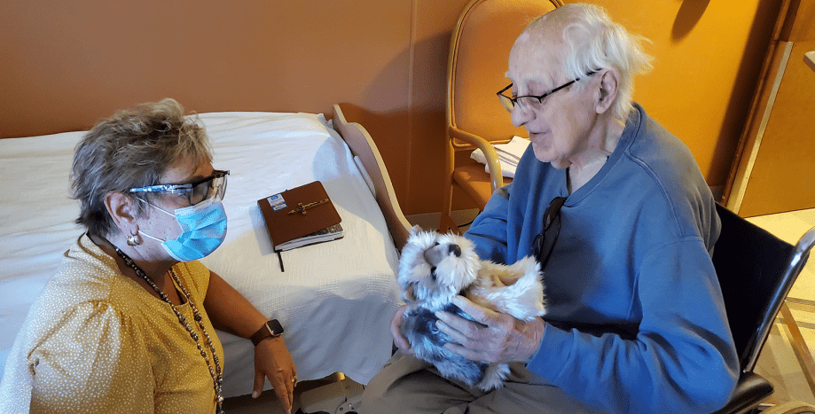Mary Ann with Resident and Stuffed Animal